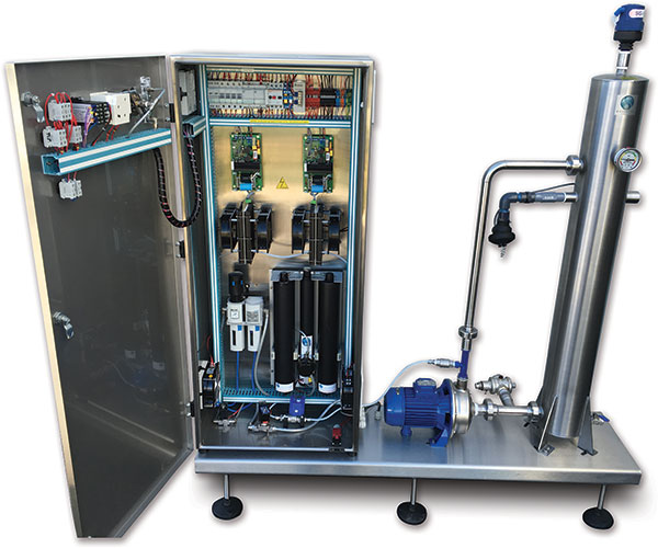 Inside view of Indigo Water Disinfection System. Wassertec Indigo - self contained ozone generator system. Indigo ozone system